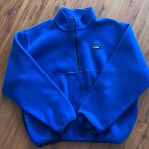 LLbean  royal blue Sherpa pull over jacket. Mens l